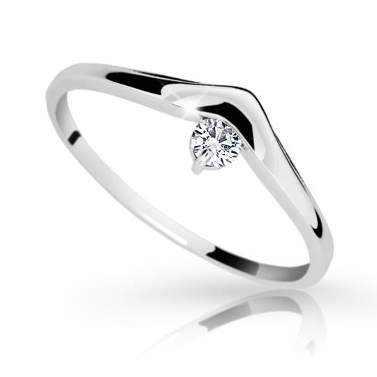 Zlatý zásnubní prsten DF 2016, bílé zlato, s briliantem