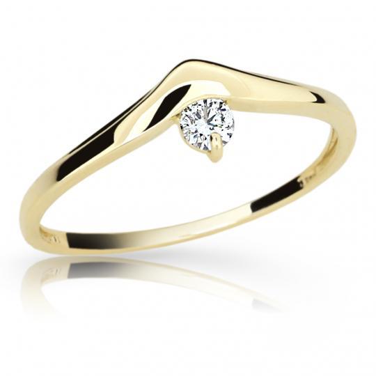 Zlatý zásnubní prsten DF 2016, žluté zlato, s briliantem