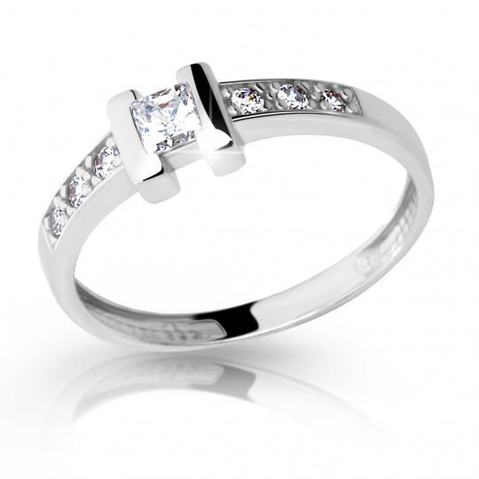 Zlatý zásnubní prsten DF 2062, bílé zlato, s briliantem