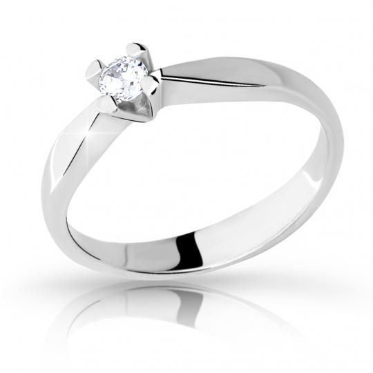 Zlatý zásnubní prsten DF 2100, bílé zlato, s briliantem