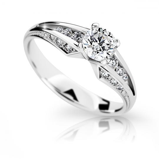 Zlatý zásnubní prsten DF 2103, bílé zlato, s diamantem