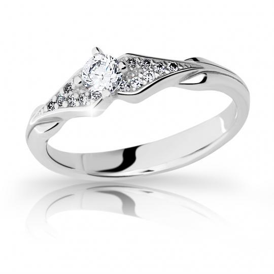 Zlatý zásnubní prsten DF 2104, bílé zlato, s briliantem