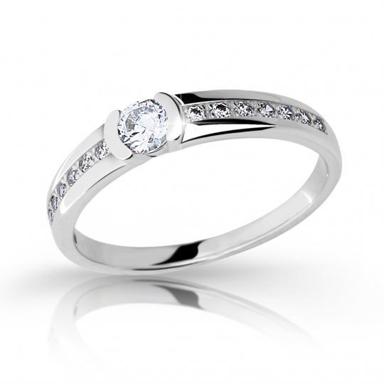 Zlatý zásnubní prsten DF 2106, bílé zlato, s briliantem