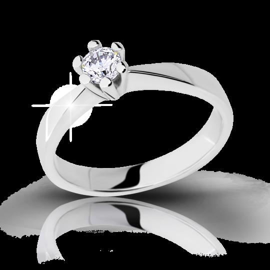 Zlatý zásnubní prsten DF 2107, bílé zlato, s briliantem