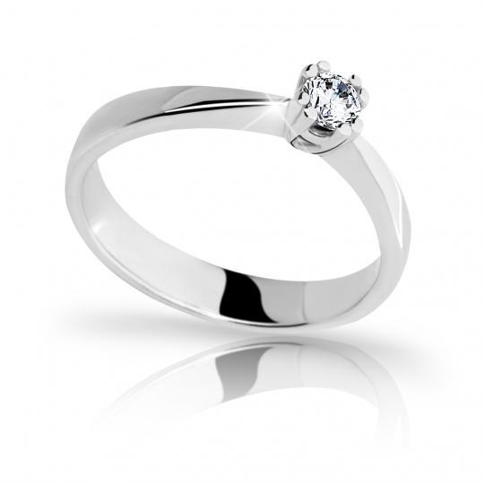 Zlatý zásnubní prsten DF 2119, bílé zlato, s briliantem