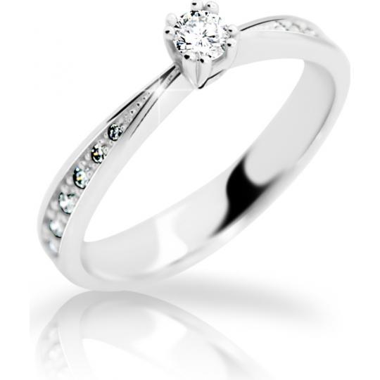 Zlatý zásnubní prsten DF 2123, bílé zlato, s briliantem