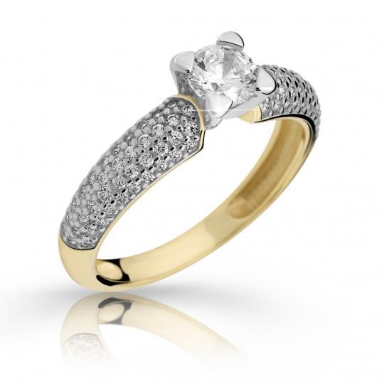 Zlatý zásnubní prsten DF 2353, žluté zlato, s diamantem