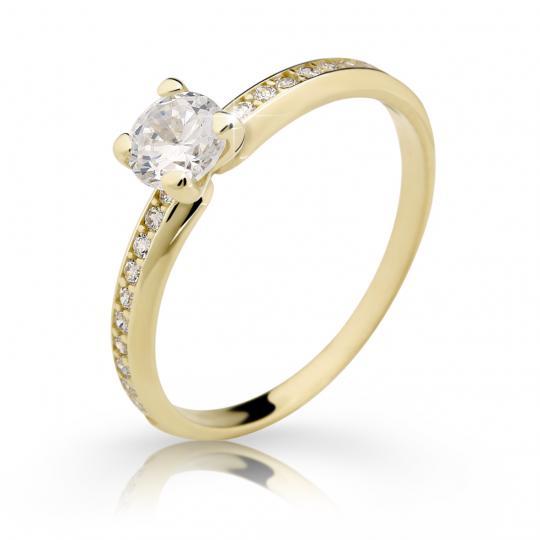 Zlatý zásnubní prsten DF 2354, žluté zlato, s diamantem