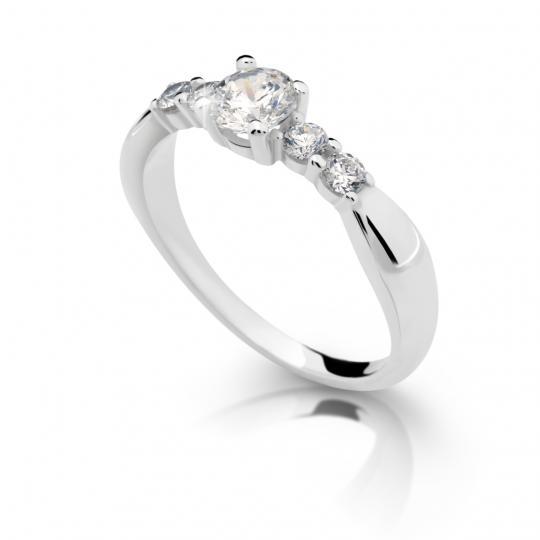 Zlatý zásnubní prsten DF 2356, bílé zlato, s diamantem