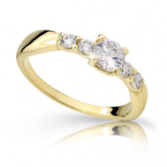 Zlatý zásnubní prsten DF 2356, žluté zlato, s diamantem