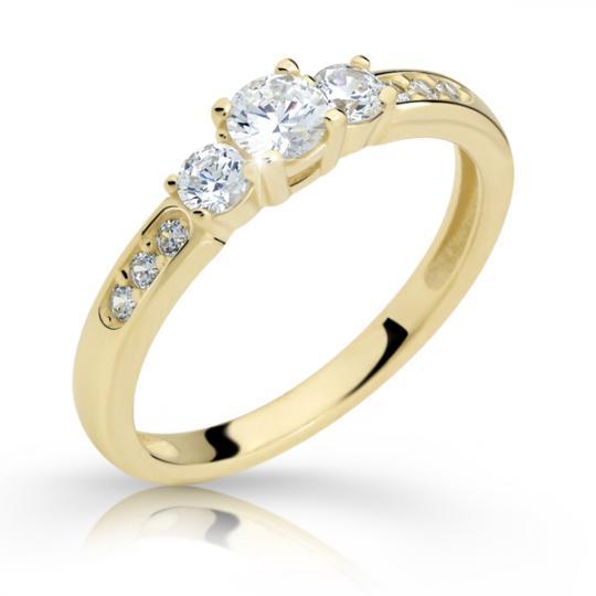 Zlatý zásnubní prsten DF 2360, žluté zlato, s briliantem