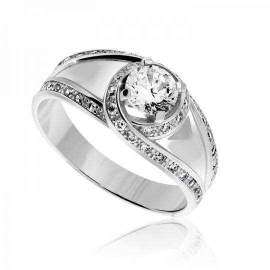 Zlatý zásnubní prsten DF 2495, bílé zlato, s diamantem