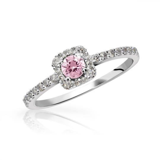 Zlatý zásnubní prsten DF 2800, bílé zlato, růžový safír s diamanty