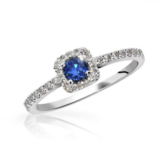 Zlatý zásnubní prsten DF 2800, bílé zlato, safír s diamanty