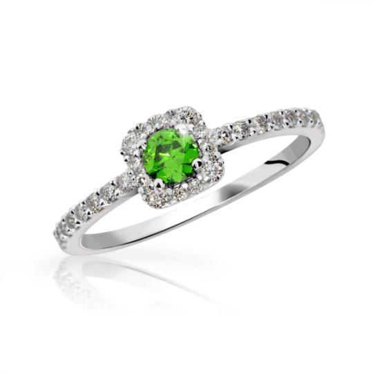 Zlatý zásnubní prsten DF 2800, bílé zlato, smaragd s diamanty