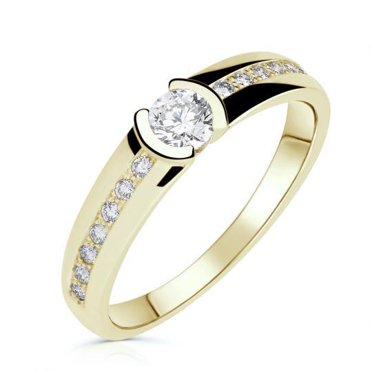 Zlatý zásnubní prsten DF 2830, žluté zlato, s brilianty