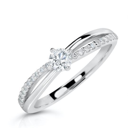 Zlatý zásnubní prsten DF 2837, bílé zlato, s brilianty