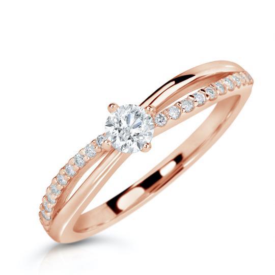 Zlatý zásnubní prsten DF 2837, růžové zlato, s brilianty