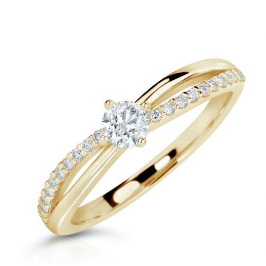 Zlatý zásnubní prsten DF 2837, žluté zlato, s brilianty