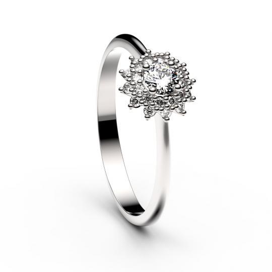 Zlatý zásnubní prsten DF 2841, bílé zlato, s briliantem