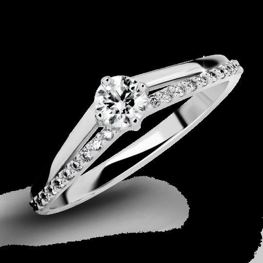 Zlatý zásnubní prsten DF 2847, bílé zlato, s briliantem
