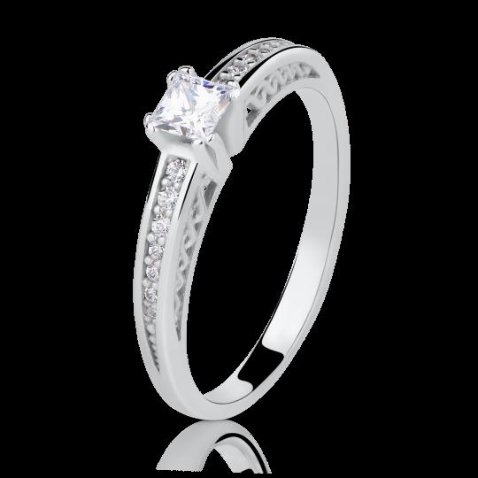 Zlatý zásnubní prsten DF 2891, bílé zlato, s diamantem