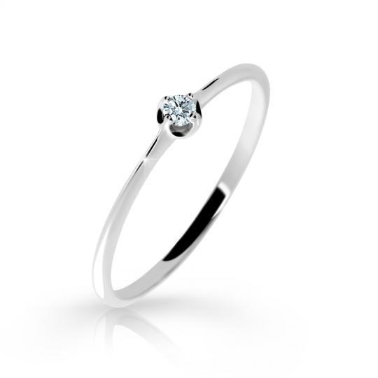 Zlatý zásnubní prsten DF 2931, bílé zlato, s briliantem