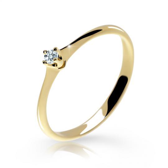 Zlatý zásnubní prsten DF 2940, žluté zlato, s briliantem