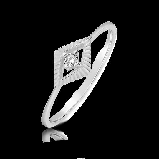Zlatý zásnubní prsten DF 2946, bílé zlato, s briliantem