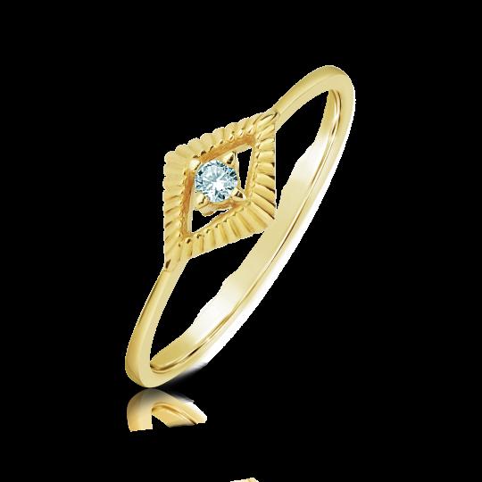 Zlatý zásnubní prsten DF 2946, žluté zlato, s briliantem