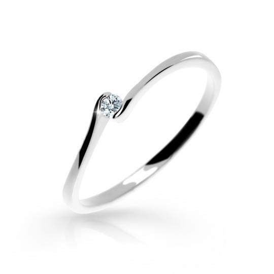 Zlatý zásnubní prsten DF 2947, bílé zlato, s briliantem