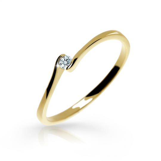 Zlatý zásnubní prsten DF 2947, žluté zlato, s briliantem