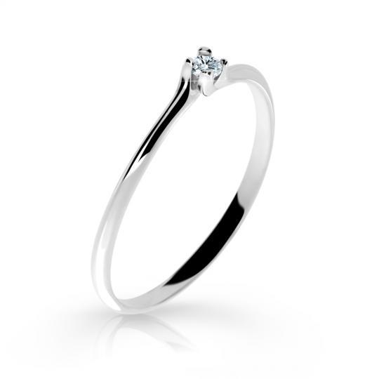 Zlatý zásnubní prsten DF 2948, bílé zlato, s briliantem