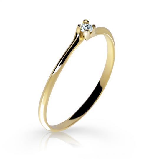 Zlatý zásnubní prsten DF 2948, žluté zlato, s briliantem