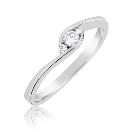 Zlatý zásnubní prsten DF 2954, bílé zlato s brilianty