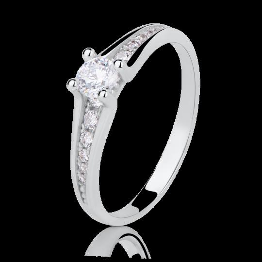 Zlatý zásnubní prsten DF 2956, bílé zlato, s briliantem