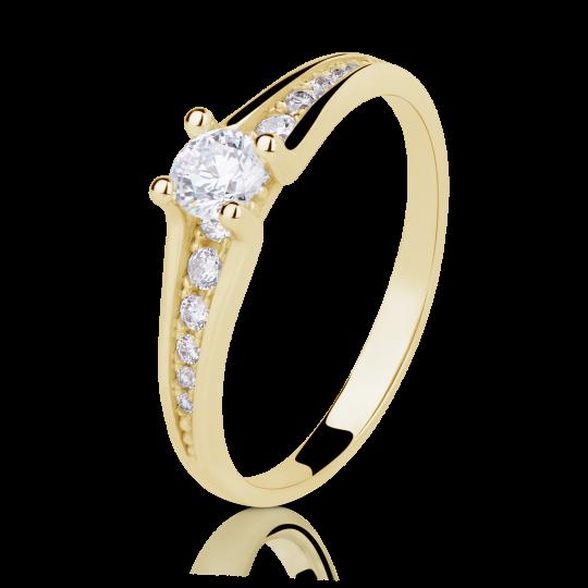 Zlatý zásnubní prsten DF 2956, žluté zlato, s briliantem