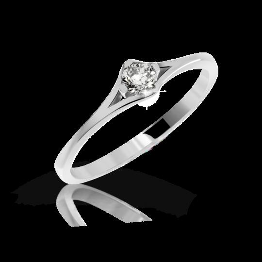 Zlatý zásnubní prsten DF 2957, bílé zlato, s briliantem