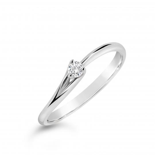 Zlatý zásnubní prsten DF 2958, bílé zlato, s briliantem