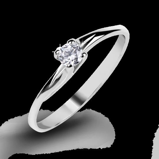 Zlatý zásnubní prsten DF 2962, bílé zlato, s briliantem