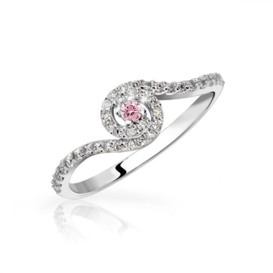 Zlatý zásnubní prsten DF 3052, bílé zlato, růžový safír s diamanty