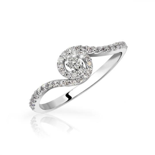 Zlatý zásnubní prsten DF 3052, bílé zlato, s briliantem