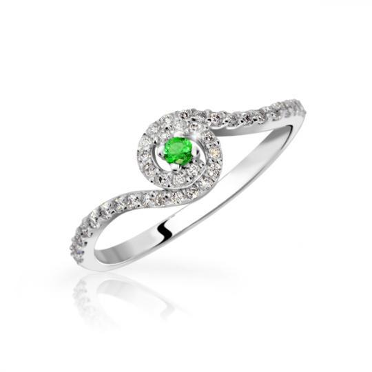 Zlatý zásnubní prsten DF 3052, bílé zlato, smaragd s diamanty