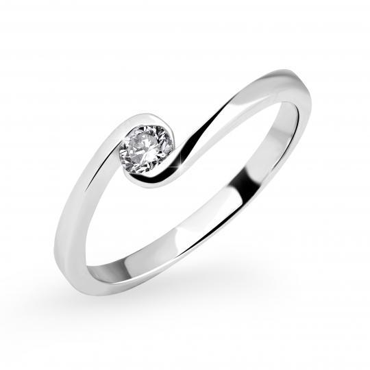 Zlatý zásnubní prsten DF 3066, bílé zlato, s briliantem