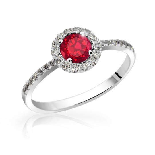 Zlatý zásnubní prsten DF 3098, bílé zlato, rubín s diamanty