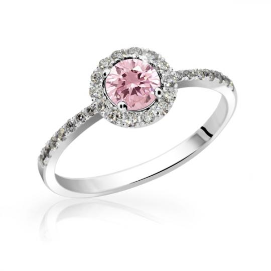 Zlatý zásnubní prsten DF 3098, bílé zlato, růžový safír s diamanty
