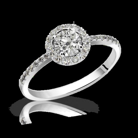 Zlatý zásnubní prsten DF 3098, bílé zlato, s diamantem
