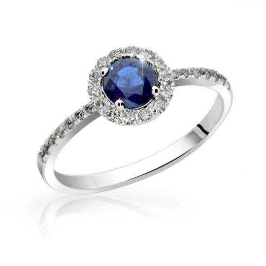 Zlatý zásnubní prsten DF 3098, bílé zlato, safír s diamanty