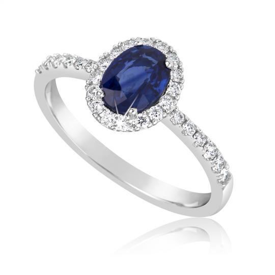 Zlatý zásnubní prsten DF 3101, bílé zlato, safír s diamanty