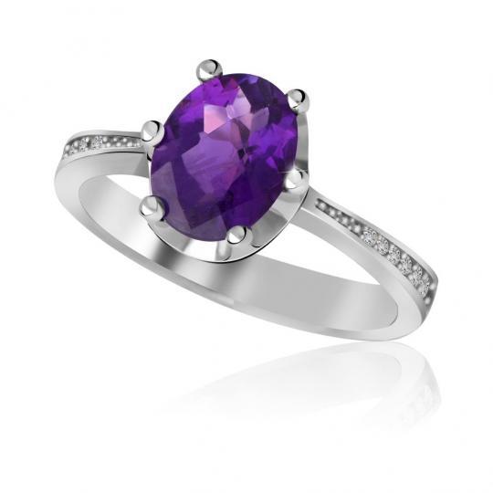 Zlatý zásnubní prsten DF 3362, bílé zlato, ametyst s diamanty